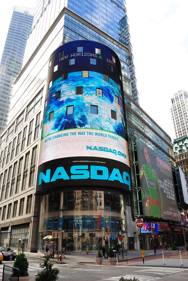 NASDAQ. The electronic NASDAQ billboard in Times Square. Founded February 8, 1971, NASDAQ is now the largest electronic screen-based equity securities trading stock images