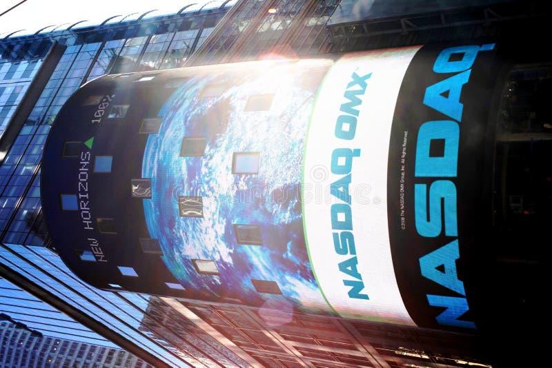 Nasdaq corner, Times Square, New York stock image