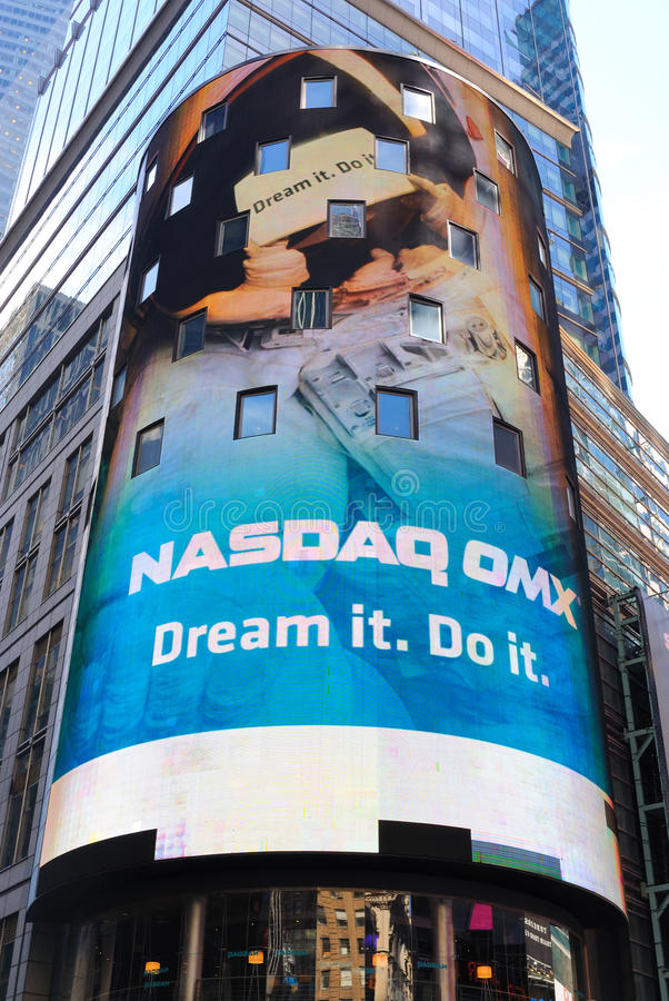 NASDAQ Headquarters in Times Square. The NASDAQ Headquarters in Times Square, the cultural and economic center of New York City stock image