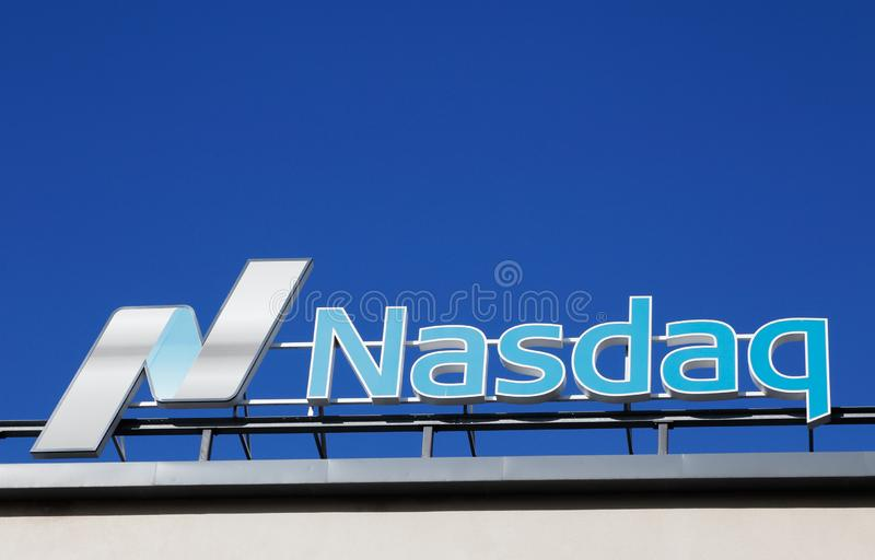 Nasdaq. Stockholm, Sweden - July 4, 2016: Close-up of the Nasdaq stock exchange sign located at Stockholm branch stock image