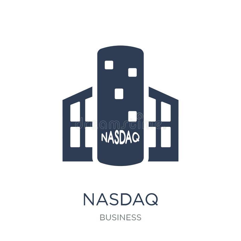 Nasdaqpictogram In vlak vectornasdaq-pictogram op witte achtergrond stock illustratie