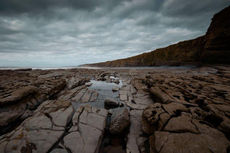 Nash Point Cliffs. Cliffs at Nash Point, Glamorgan Coast, Wales stock photo