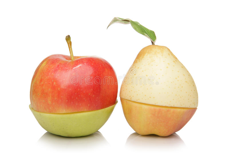 Nashi Birne und Äpfel auf Variante stockfoto
