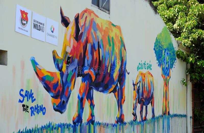Nashorn durch Graffitikunst, Nashornmalerei stockbilder
