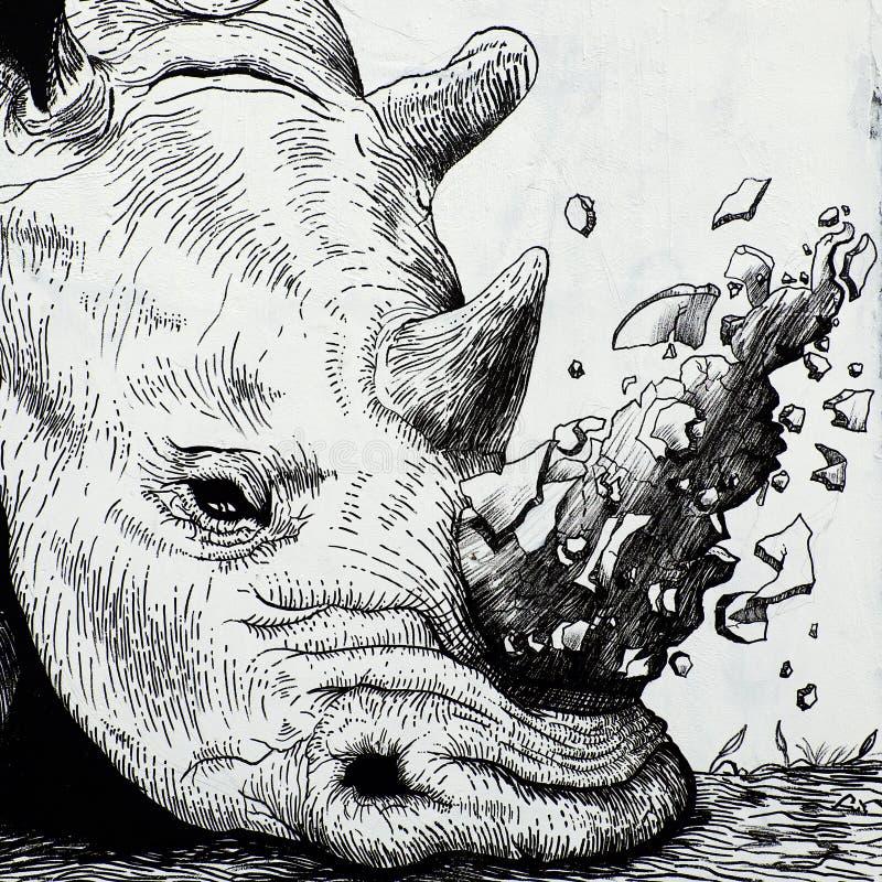 Nashorn durch Graffitikunst, Nashornmalerei lizenzfreies stockfoto