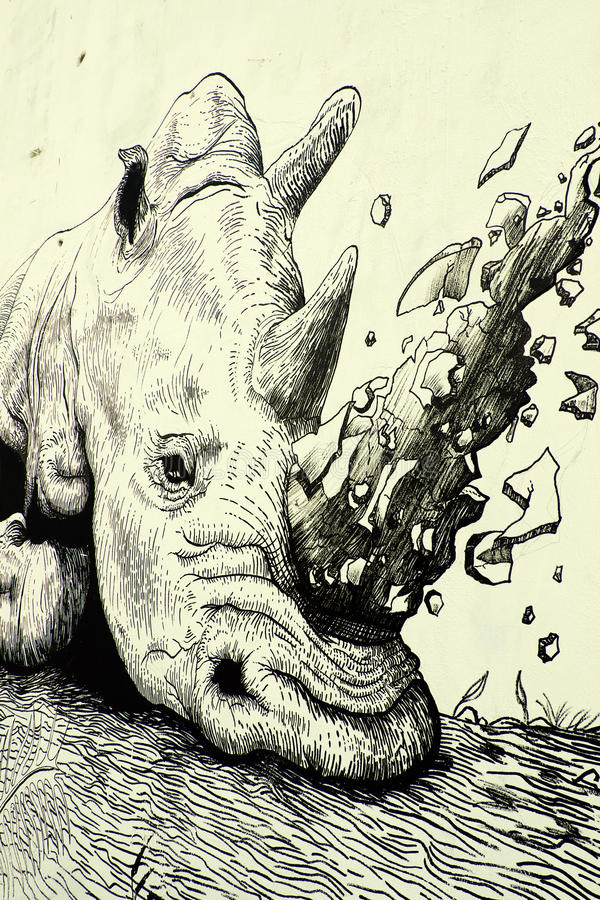 Nashorn durch Graffitikunst, Nashornmalerei lizenzfreie stockfotografie