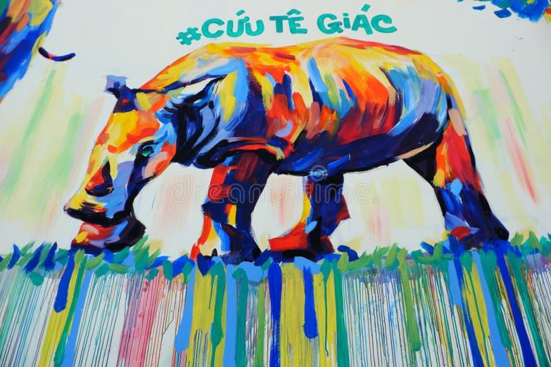 Nashorn durch Graffitikunst, Nashornmalerei stockfotos