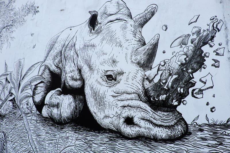 Nashorn durch Graffitikunst, Nashornmalerei stockbild