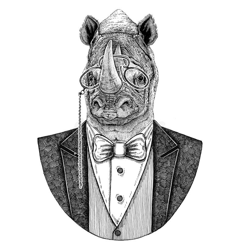 Nashorn, gezeichnete Illustration Nashorn Hippies Tierhand für Tätowierung, Emblem, Ausweis, Logo, Flecken, T-Shirt lizenzfreie abbildung