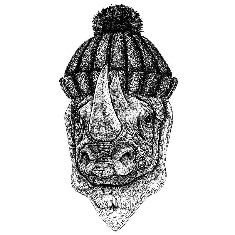 Nashorn, kühles Tier des Nashorns, das gestrickten Winterhut trägt Warme Kopfschmuck Beanie Weihnachtskappe für Tätowierung, T-Sh stock abbildung