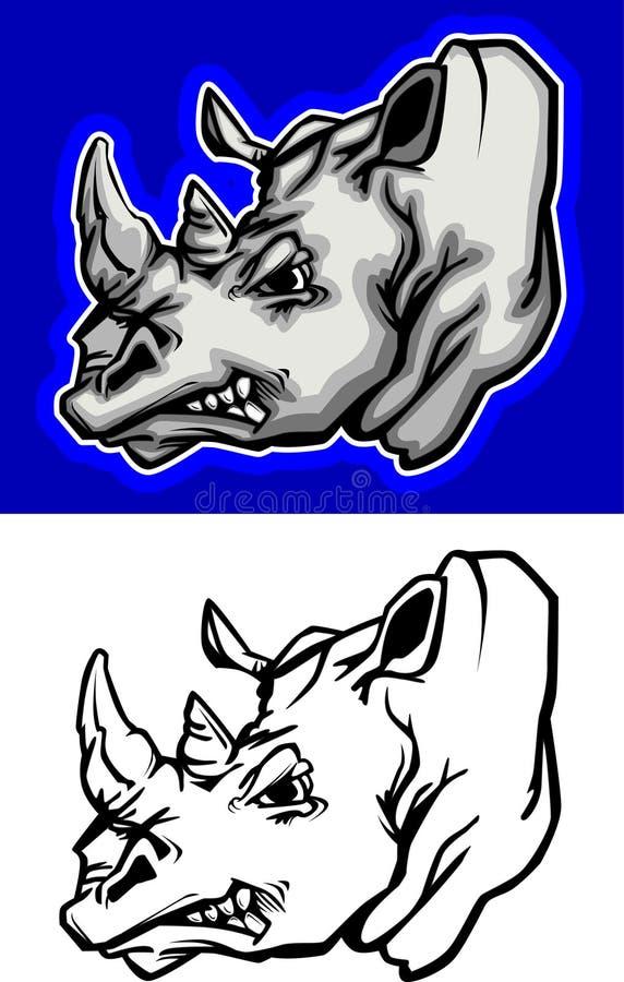 Nashorn-Maskottchen-Zeichen lizenzfreie abbildung