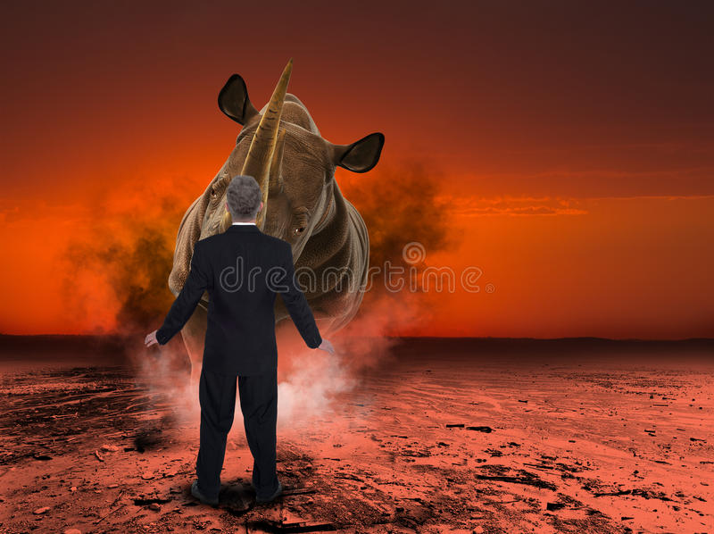 Nashorn, Nashorn-Aufladungsgeschäftsmann stockbild