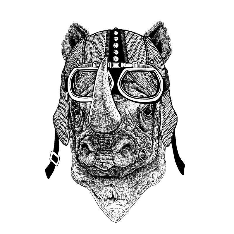 Nashorn, tragendes Motorrad des Nashorns, aero Sturzhelm Radfahrerillustration für T-Shirt, Plakate, Drucke stock abbildung