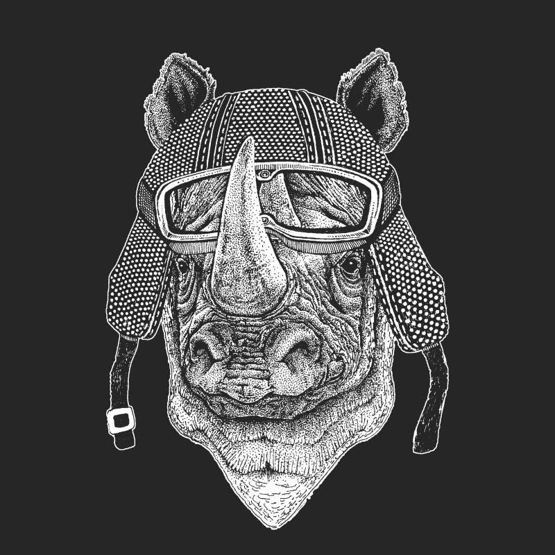 Nashorn, Nashorn Weinlesemotorrad hemlet Retrostilillustration mit Tierradfahrer für Kinder, Kinder-Kleidung, t lizenzfreie abbildung