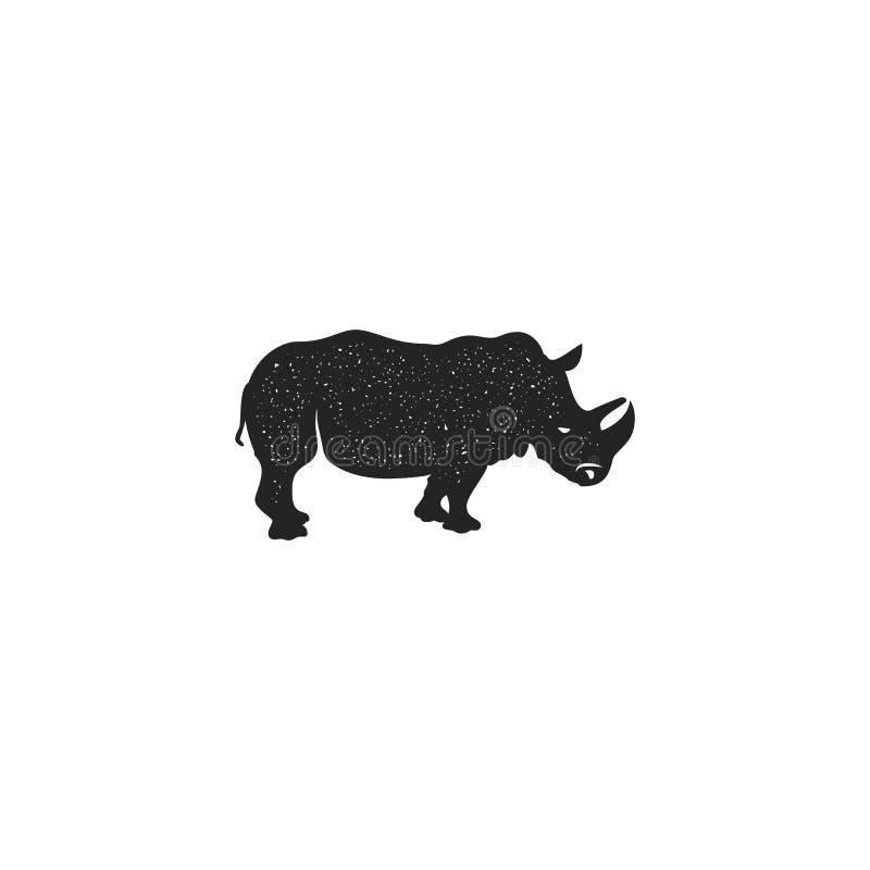 Nashornikonen-Schattenbilddesign Symbol und Element des wilden Tieres lokalisiert auf weißem Hintergrund Weinlesehandhandtier lizenzfreie abbildung
