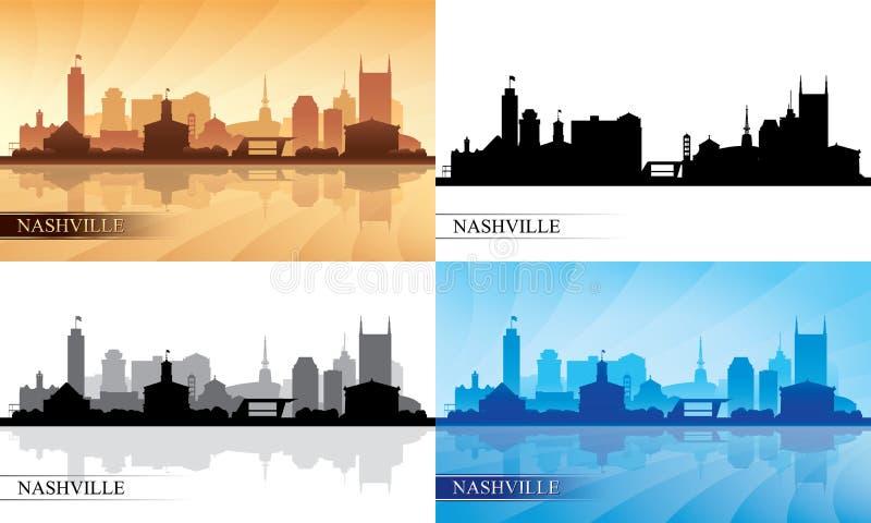 Nashville city skyline silhouettes set vector illustration