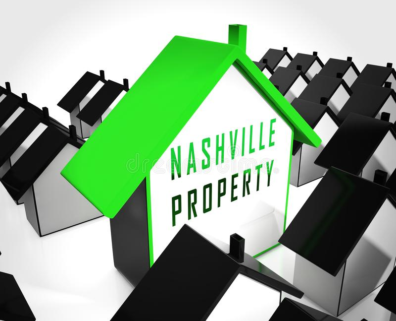 Nashville Homes Real Estate Icon zeigt Tennessee Realty und Vermietung - 3D Illustration vektor abbildung