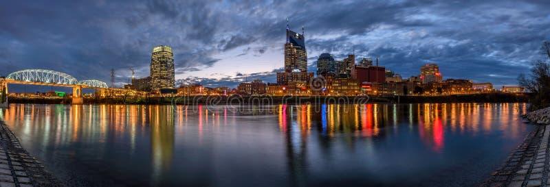 Nashville horisont som är panorama- royaltyfria bilder