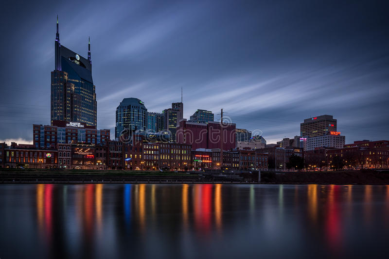 Nashville, horizonte, oscuridad imagenes de archivo