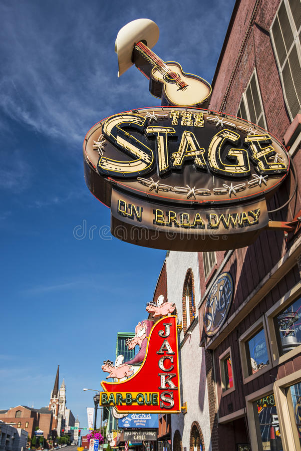 Nashville at Lower Broadway royalty free stock photography