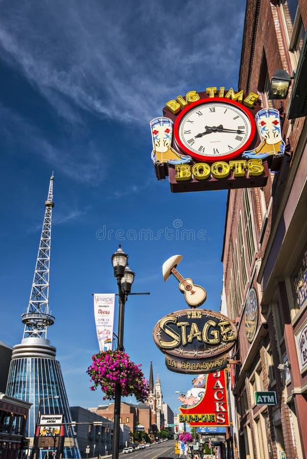 Nashville at Lower Broadway royalty free stock photo