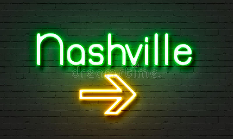 Nashville neon sign on brick wall background. royalty free stock photo