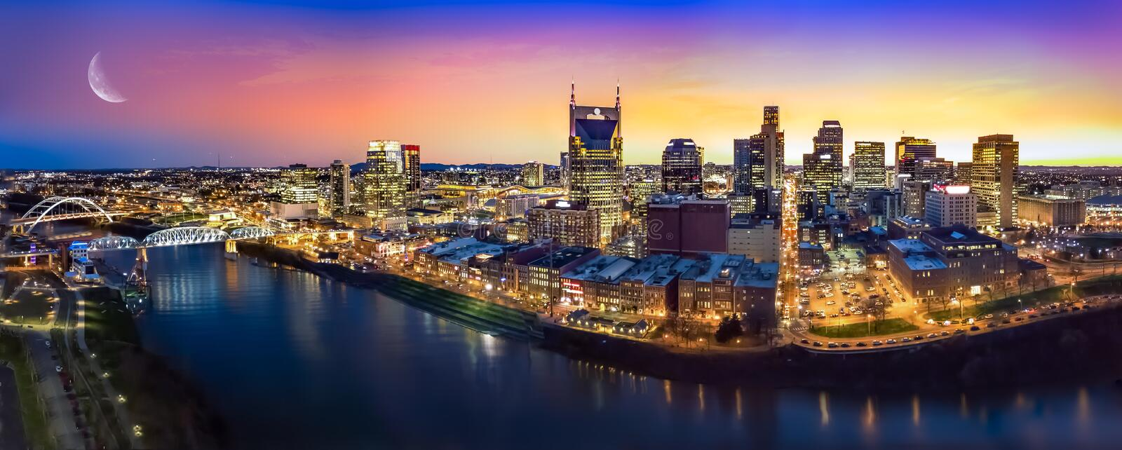 Nashville skyline with moon stock images