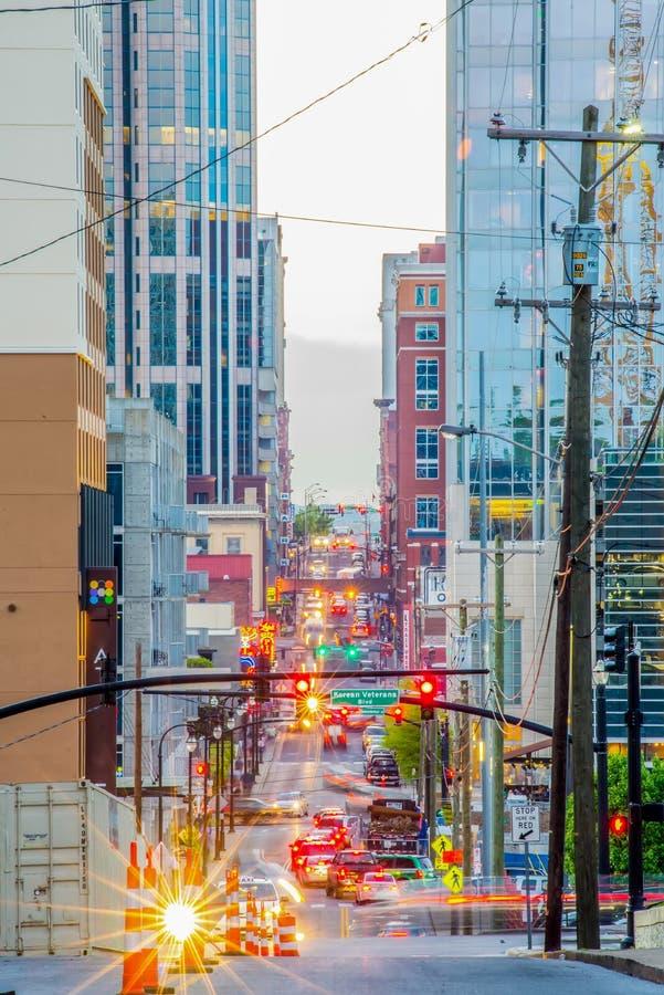Nashville Tenessee ulicy w wieczór fotografia royalty free
