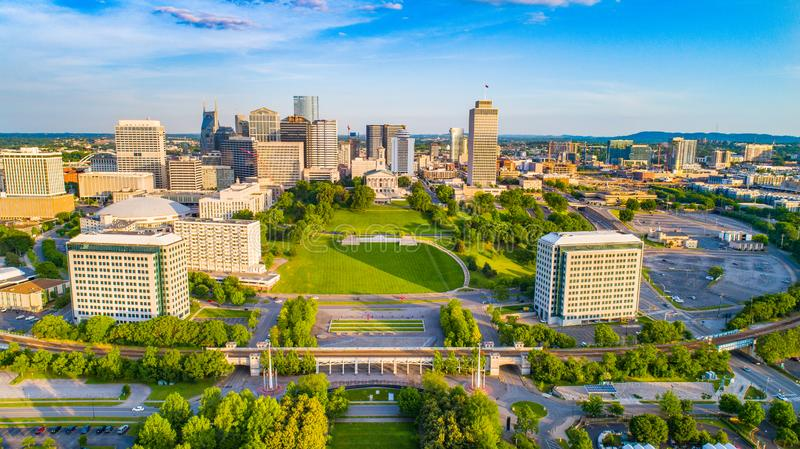 Nashville Tennessee Drone Skyline Aerial royalty free stock images