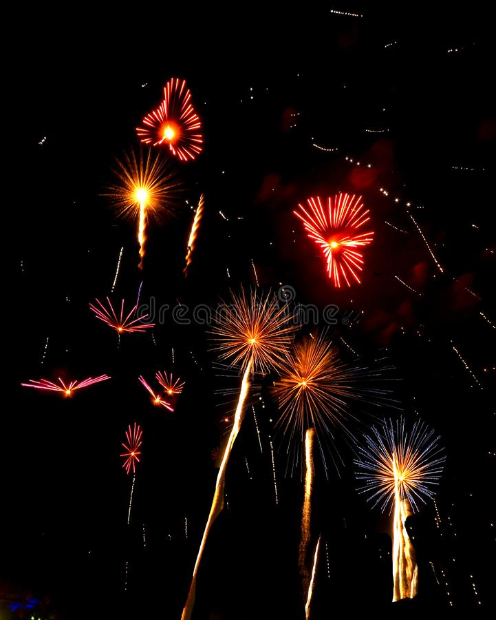 Nashville, Tennessee Fireworks July 4, 2018 royalty free stock image
