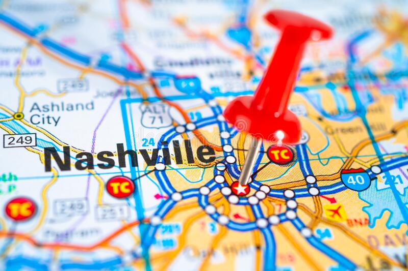 Nashville, Tennessee road map with red pushpin, city in the United States of America. USA royalty free stock image