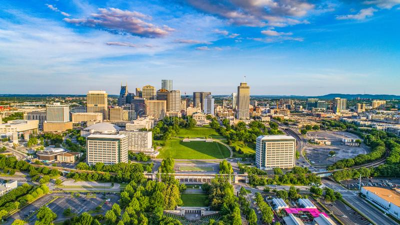 Nashville Tennessee State Capitol Skyline Aerial photo stock