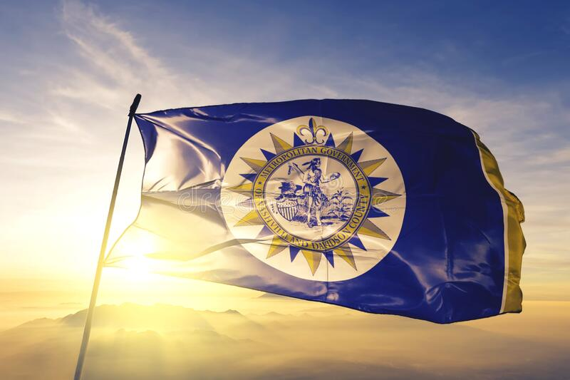 Nashville of Tennessee of United States flag waving on the top. Nashville of Tennessee of United States flag waving stock image