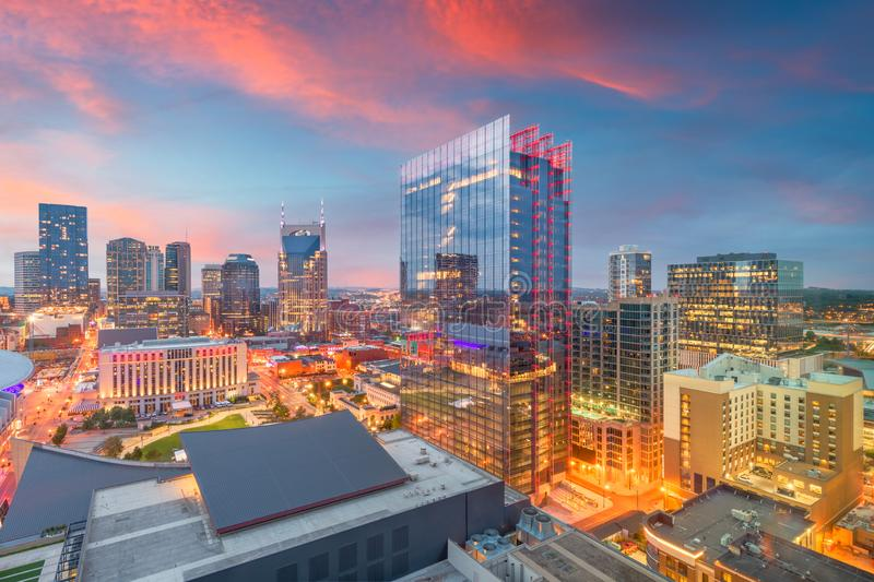 Nashville, Tennessee, USA Downtown Cityscape. At dusk royalty free stock photos