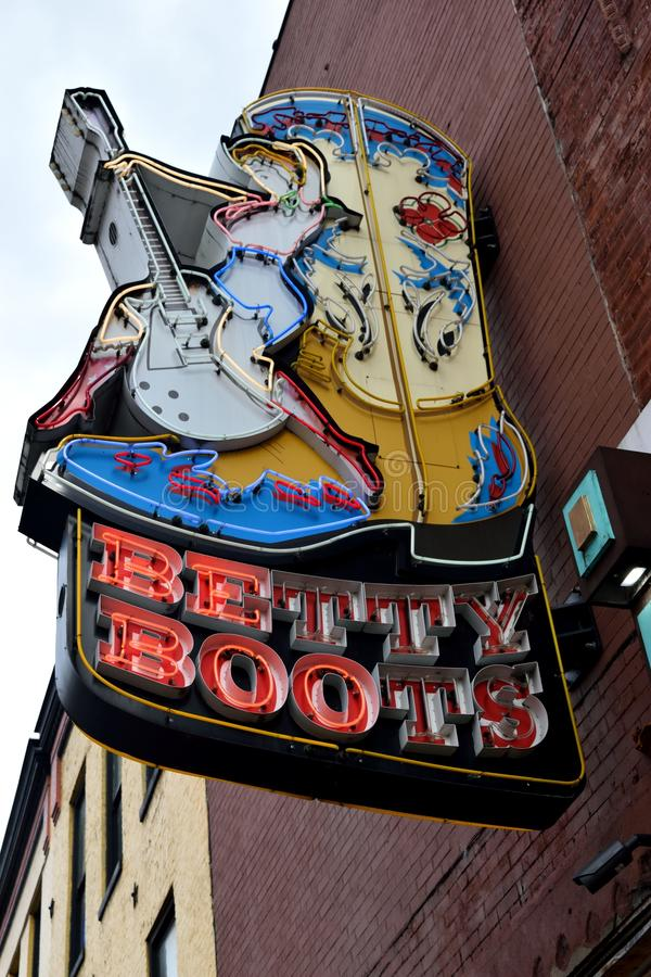 Betty Boots sign in Nashville stock image
