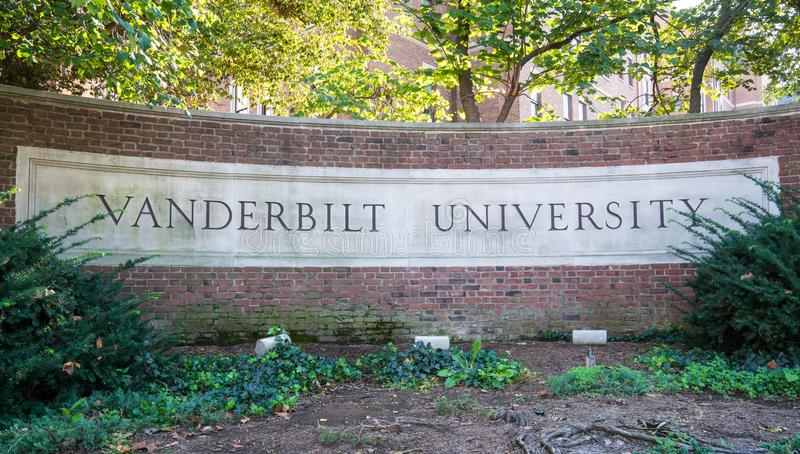 Vanderbilt University Sign. NASHVILLE, TN - OCT 9: Sign at the entrance to Vanderbilt University on October 9, 2017 in Nashville, Tennessee, USAi stock images
