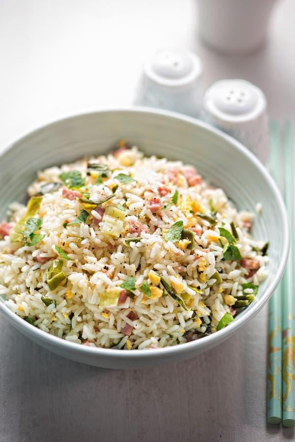 Nasi bóść ryż Indonezyjczyka styl smażył ryż z wieprzowiną, jajkiem i leek, zdjęcie stock