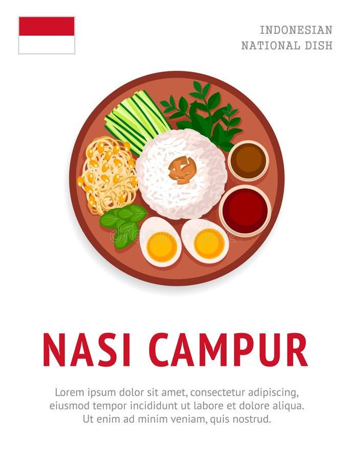 Nasi campur Krajowy indonezyjski naczynie ilustracja wektor