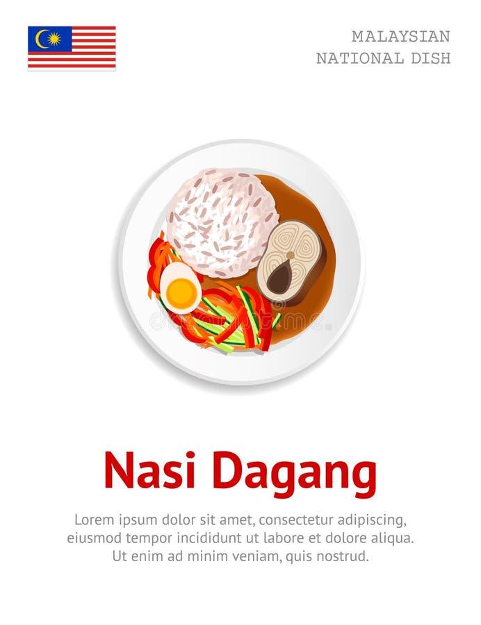 Nasi Dagang Prato malaio tradicional ilustração stock