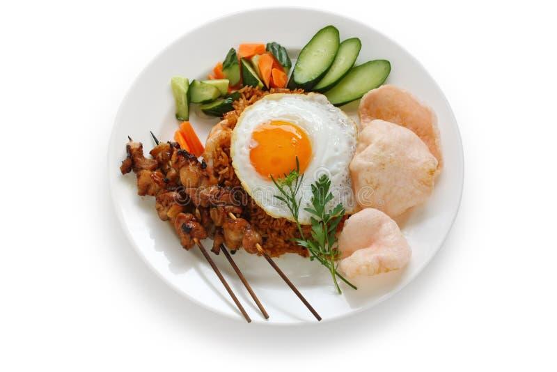 Nasi goreng, indonesischer gebratener Reis stockfotos