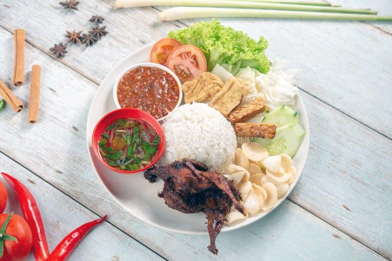 Nasi lemak kukus with quail meat stock image