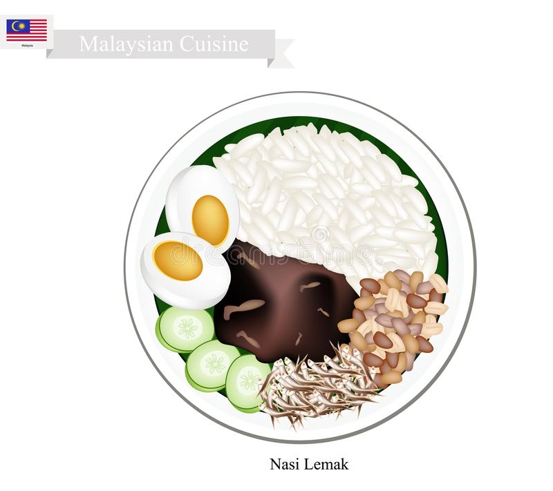 Nasi Lemak or Malaysian Coconut Milk Rice. Malaysian Cuisine, Nasi Lemak or Steamed Rice Cooked in Coconut Milk Served with Boil Egg, Anchovies, Peanut and stock illustration