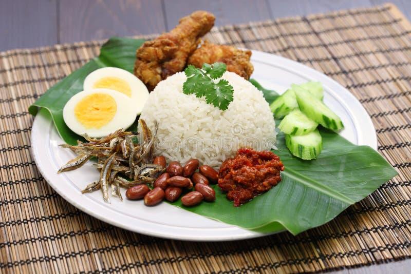Nasi lemak, malaysian coconut rice stock images