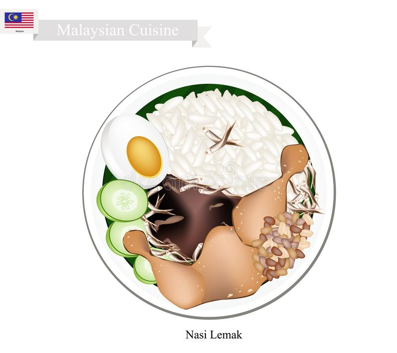 Nasi Lemak or Malaysian Rice with Coconut Milk. Malaysian Cuisine, Nasi Lemak or Steamed Rice Cooked in Coconut Milk Served with Fried Chicken, Boil Egg stock illustration