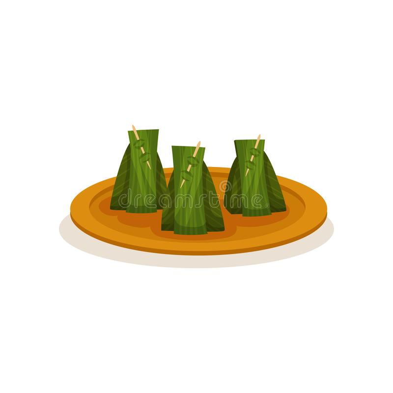 Nasi lemak zawijający z bananowym liściem Tradycyjny Malezyjski naczynie na talerzu kuchnia azjatykcia Smakowity jedzenie Kulinar ilustracja wektor