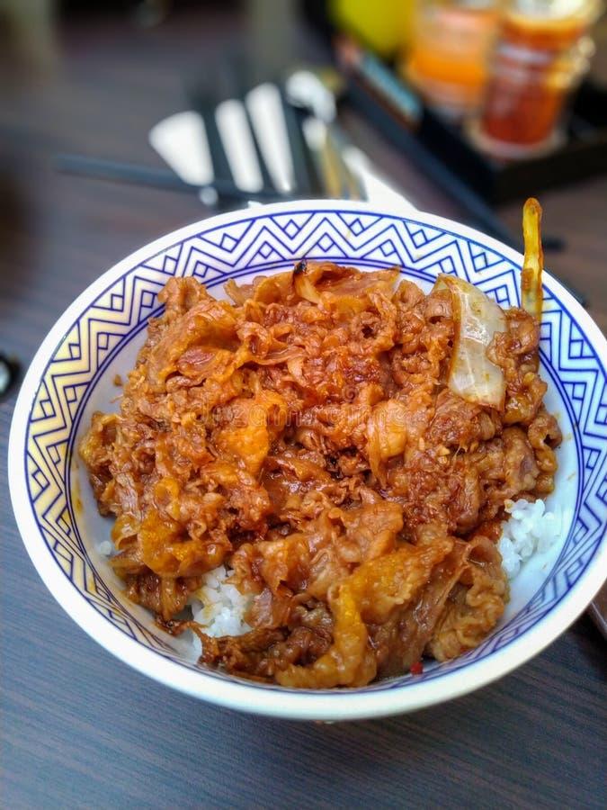 Nasi mangkok, ή κύπελλο ρυζιού με το κρέας στοκ εικόνες