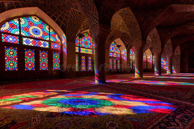 Nasir Al马尔克清真寺在设拉子 免版税库存图片