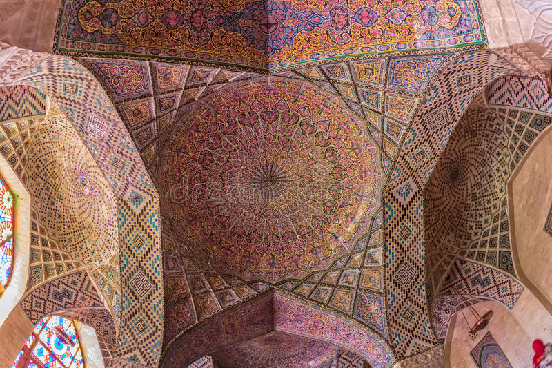 Nasir Al-Mulk Mosque ceiling dome. Ceiling dome in the praying room of the beautiful Nasir Al-Mulk Mosque or Pink Mosque a traditional mosque located in Goad-e royalty free stock photography