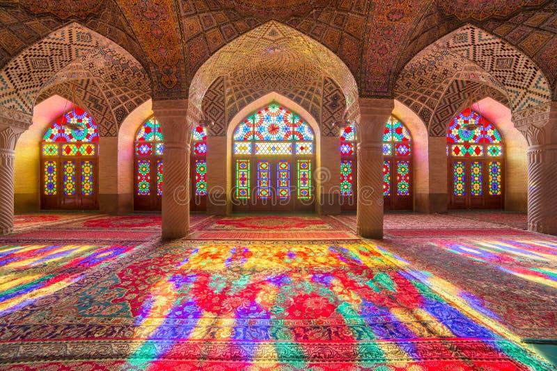 Nasir al-Mulk Mosque em Shiraz, Irã imagens de stock