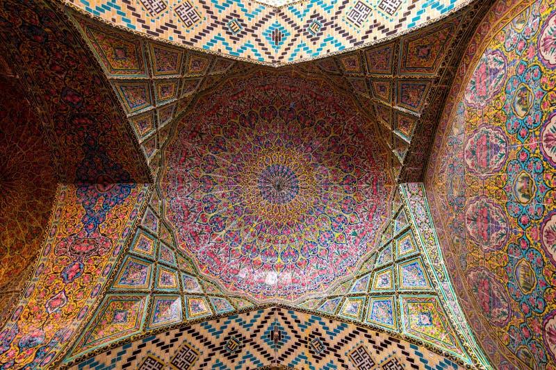Nasir al-Mulk Mosque, la mezquita rosada imágenes de archivo libres de regalías